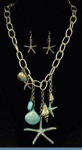 Starfish & Seashell Charm Antique Goldtone Necklace with Earrings Accented with Aqua Blue Beads & Rhinestones $24 www.whimzaccessories.com