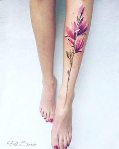 Magnolia Tattoo by pissaro_tattoo