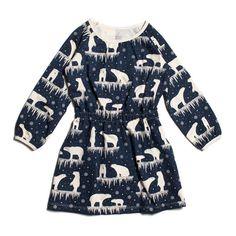 Winter Water Factory Domino Dress | Polar Bears Midnight Blue