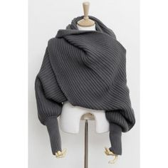 Chic Solid Color Sleeved Knitted Scarf For Women, DEEP GRAY in Scarves | DressLily.com