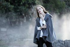 gray wool coat cloak grey wool cape 100% cashmere gray