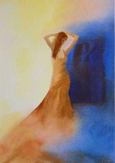 le miroir / the mirror by isabelle garnier - watercolor