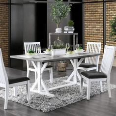 Dinning Set, 7 Piece Dining Set, Dining Nook, Dining Table In Kitchen, Kitchen Island, Kitchen Cabinets, Trestle Dining Tables, Counter Height Dining Table, Solid Wood Dining Table