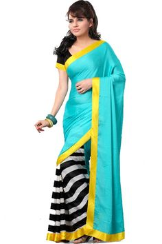 Printed Party Wear Saree Fabric - Satin Color - Sky Blue Reference : VLR211 http://valehri.com/sarees/593-printed-party-wear-saree.html