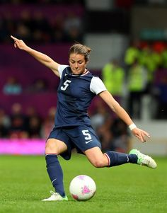 Best Of London: Day 10 - Slideshows | Kelley O'hara of United States kicks during the Women's Football Semi Final match between Canada and USA.  (Photo: Stanley Chou / Getty Images) #NBCOlympics