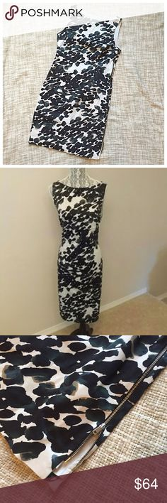 Sale🎀Ann Taylor Abstract Side Zip Sheath Dress Gorgoeus and in excellent used condition. Fully lined crisp abstract splotched dress with full length adjustable side zipper. Main colors are black and white with hints of blues and browns Ann Taylor Dresses Mini