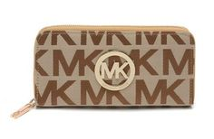Michael Kors Wallet Continental Monogram Leather Chocolate