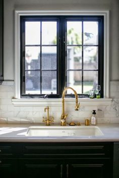 Brass Gooseneck Kitchen Faucet - Design photos, ideas and inspiration. Amazing gallery of interior design and decorating ideas of Brass Gooseneck Kitchen Faucet in kitchens by elite interior designers. Gold Interior, Kitchen Interior, Kitchen Design, Interior Design, Kitchen Ideas, Kitchen Trends, Bathroom Interior, Black Window Frames, Black Windows