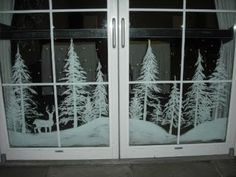 Snowy forest doors by Window-Painting on DeviantArt Christmas Window Decorations, Christmas Window Display, Holiday Decor, Painted Windows For Christmas, Box Decorations, Winter Christmas, Christmas Home, Christmas Crafts, Christmas Scenes
