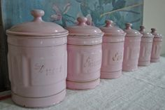 French enamelware---pink canister set!