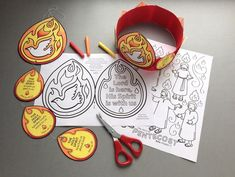 Pentecost Holy Spirit colour and make mobile and headband with colouring page. Based on the Bible story from Acts 2 Bible School Crafts, Sunday School Crafts, Bible Crafts, Day Of Pentecost, Sunday Activities, Headband Crafts, Black And White Artwork, Bible Study For Kids, Christian Kids