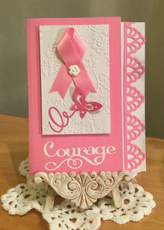 Breast Cancer Card / Made with Spellbinders Moroccan Accents Die Cut, Anna Griffin Embossing Folder and Pink Journey Cricut Images / Handcrafted By Cindy Babich (Cindyswishestogive 2016)