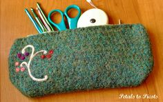 """Crocheted and felted pouch...link to """"Planning Your Felted Project"""""""