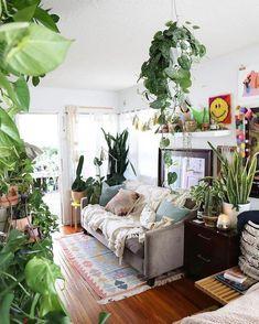 plant-filled living room