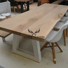Oak tree trunk table with white steel Trapeze legs. Rustic and tough appearance. Made to measure by Living in Diy Dining Room Table, Dining Table Design, Oak Table, Kitchen Dining, Kitchen Decor, Trunk Table, Dining Room Inspiration, Small Dining, Living Room Designs