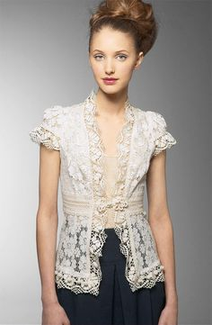 lace vest w/ crocheted edgings