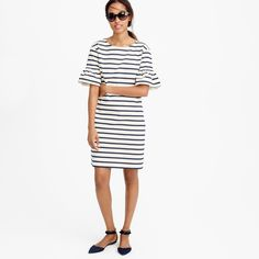 Pin for Later: Swap Out These Staples to Make Your Summer Outfit Office-Appropriate Instead of Spaghetti-Strap Sundresses, Wear Short-Sleeved Shifts Ruffled Bell-Sleeve Shift Dress in Stripe ($98)