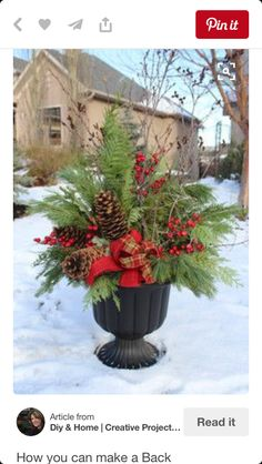 Christmas outdoor pot arrangement