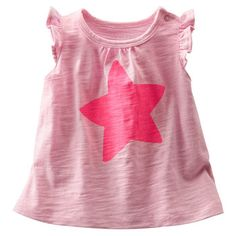 This fun little slightly textured top has star power thanks to a bright screen printed star and flutter sleeves. #babybgosh