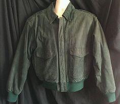 Men's Gitano Suede Leather Jacket Size Small S Elastic Knit Cuffs & Waist Green  #Gitano #FlightBomber
