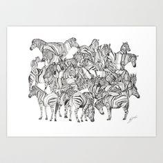 Zebras // Graphite Art Print by Sandra Dieckmann Sandra Dieckmann, Graphite Art, Zebras, Concept Art, Moose Art, Art Prints, Black And White, Drawings, Animals