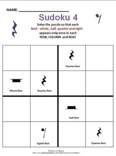 TEN MUSIC THEMED SUDOKU - using both American and British terminology.   $