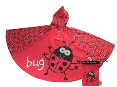 Schattige kinder regenponcho met lieveheersbeestjes/print van het merk Bugzz, prima voor de regenachtige dagen. Geschikt voor kinderen van 3-6 jaar. Inclusief matching opbergzakje!