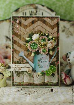 Открытка с ранункулюсами - коричневый,ранункулюс,лейка,шебби-шик,цветы ручной работы