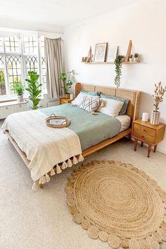 Room Ideas Bedroom, Bedroom Inspo, Mint Bedroom Decor, Nature Bedroom, Bedroom Beach, Cute Room Decor, Aesthetic Room Decor, Boho Room, Dream Rooms
