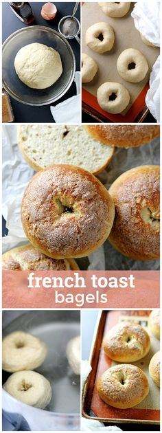 Toast Bagels French Toast Bagels -- Fluffy, flavorful bagels with a cinnamon crunch topping! Toast Bagels -- Fluffy, flavorful bagels with a cinnamon crunch topping! French Toast Bagel Recipe, Homemade French Toast, French Toast Bake, Sweet Bagel Recipe, Cinnamon Bagels, Cinnamon Crunch, Tapas, Homemade Bagels, Homemade Pancakes