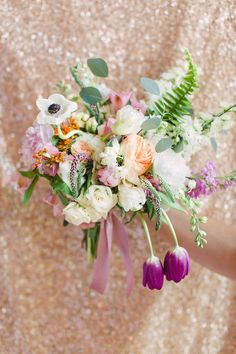 58843d992dc Stunning peach and lavender bouquet