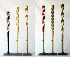 """Dutch Baseball Artist~""""Peter Schuff"""" Carves Old Baseball Bats into Spiraling Sculptures."""
