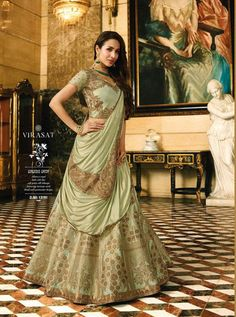 Pastel green lehenga choli with dupatta. Work - Heavy embroidery work on lehenga ,choli and dupatta with weaving work. Lehenga can be customized up to Size To complete the look matching choli and dupatta is available with this product. Indian Wedding Lehenga, Indian Wedding Wear, Bridal Lehenga Choli, Indian Lehenga, Silk Lehenga, Indian Wear, Lehga Choli, Anarkali Lehenga, Lehenga Suit