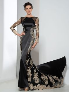 modabridal.co.uk SUPPLIES Tailor made Formal Winter Floor-Length Lace-up Black Natural Long Sleeves Trumpet/Mermaid Dress Black Evening Dresses