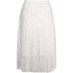 Boohoo Belle Pleated Lace Full Skirt | Boohoo ($16) ❤ liked on Polyvore featuring skirts, knee length pleated skirt, full pleated skirt, lacy skirt, white skirt and full skirt