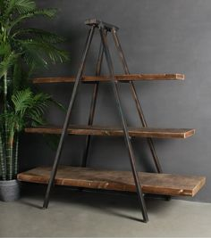 Whether your style is Manhattan Loft or rustic country, our Industrial Tripod Bookcase has the casual charm to blend seamlessly with a range of looks. Featuring an industrial style metal frame and timber shelves it can function as book shelves, or generou Industrial Design Furniture, Industrial Living, Industrial Interiors, Rustic Furniture, Diy Furniture, Furniture Design, Furniture Online, Kitchen Industrial, Industrial Pipe
