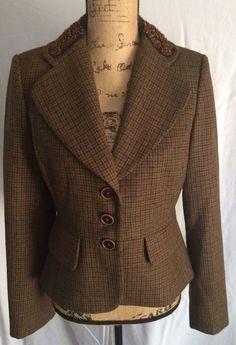 banana republic wool alpaca tweed blazer 3 button sz 8 brown embellished collar #BananaRepublic #Blazer