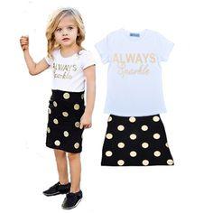 girls clothing sets dot letter clothing set for girl short sleeve t shirt+polka dot skirt new 2016 summer girl clothing set