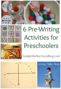 Fun pre-writing activities for your preschoolers! 6 Pre-Writing Activities for Kids | www.GoldenReflectionsBlog.com