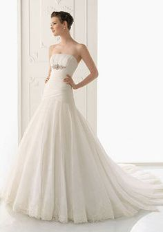 Organza A line Strapless Dropped Sleeveless Floor Length Wedding Dress - Angeldress.co.uk