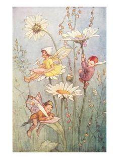 Art Print: Garden Fairies Art Print : 24x18in