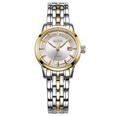 BUREI Classic Women's Automatic Mechanical Stainless Steel Wrist Watch Calendar #BUREI #Casual