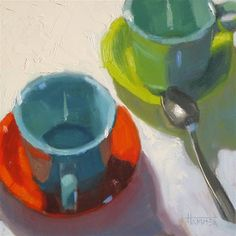 """Daily Paintworks - """"Coffee with Friends 6in x 6in  oil on panel"""" - Original Fine Art for Sale - © Claudia Hammer"""