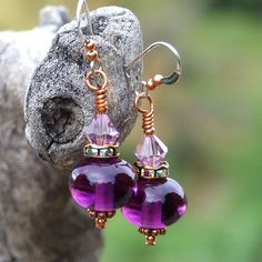 The Plum perfect handmade earrings were created from rich amethyst lampwork glass beads, Czech crystal roundelles and Swarovski crystals - gift idea for women.