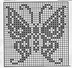 Filet Crochet, Bobble Crochet, Crochet Quilt, Tapestry Crochet, Crochet Chart, Thread Crochet, Crochet Motif, Crochet Stitches, Butterfly Cross Stitch
