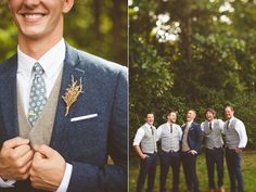 groomsmen boutonnieres - photo by Kelly Maughan Photography http://ruffledblog.com/north-carolina-wedding-sourced-from-antique-shops