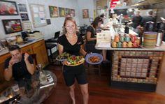 Ellie Weeks serves lunch diners at Avenues Bistro on Third. (Al Hartmann  |  The Salt Lake Tribune)