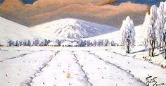 Julian Fałat - Paysage d'hiver (Bystra), aquarelle sur carton A Hundred Years, Art Thou, Art Academy, Winter Landscape, Agra, Impressionist, Landscape Paintings, Castle, Snow