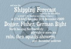 Items similar to Shipping Forecast Print - Individual Time and Date - Blue - on Etsy Shipping Forecast, Cow Art, Window Panels, Boating, Interesting Stuff, Seaside, Anchor, Quilting, British