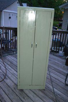 Vintage Mid Century Metal Jelly Storage Cabinet 1950-60's Kitchen Utility Garage #countryfarmcabinet